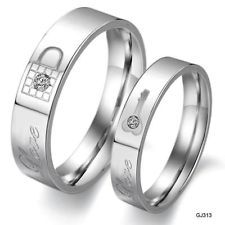 Love Couple Rings Stainless Steel wedding band Finger Crystal pair jewelry GJ313