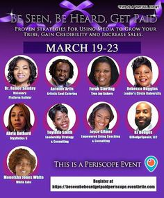 Starting the evening session in 5 mins. Be Seen Be Heard Get Paid Periscope Event: March 19-23. No Cost. Register at http://ift.tt/2p4doWw . Small business Owners Visibility: As a small business owner. We have to provide products and services in a professional and authentic manner every day. Visibility is a must. We will share our mission goals and services to help you help have a fulfilled life and obtain your dreams and goals. #ShopLocaln#SmallBusinessSaturday #SocialSaturday…