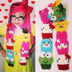 Hello Kitty and Friends Cupcake Scarf (crochet pattern available on Ravelry for $9.99)
