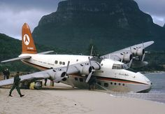 Ansett Flying Boat Services - Short S 25 Sandringham Flying Boat Marooned at Lord Howe Island 1974
