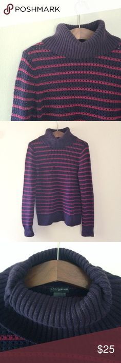 Ann Taylor Striped Crochet Turtleneck Sweater Striped crochet knit Turtleneck sweater from Ann Taylor. Size: M. Color: Navy and Maroon. 60% cotton, 40% acrylic. Super soft! There is some slight wear on the inside of the Turtleneck but not visible when wearing. Ann Taylor Sweaters Cowl & Turtlenecks