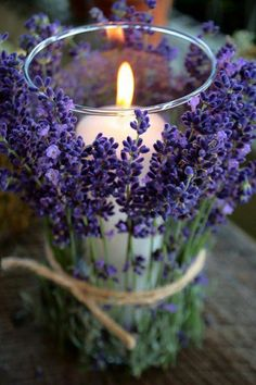 ~ Pretty lavender wrapped candle jar... simple & elegant! ~