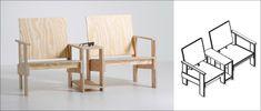 Een gezellige duostoel met een handig tafeltje, gemaakt van één plaat underlayment! Er blijft bijna geen restmateriaal over. Maak deze duostoel met de uitgebreide werktekening van KARWEI.