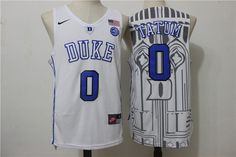 Duke Blue Devils 0 Jayson Tatum White College Basketball Jersey