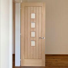 Bespoke Contemporary Suffolk Oak 4L Glazed Door. #oakdoor #elegantinteriordoor #bespokeoakdoor