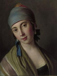 Pietro Antonio Rotari,  Italian (1707-1762)  ~    Portrait of a Woman with Blue Scarf and Striped Shawl, after 1750  ~