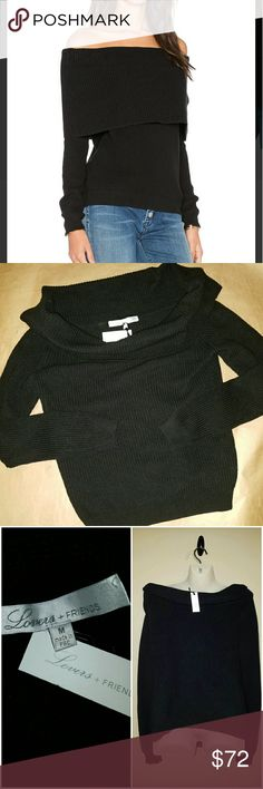 Lovers + Friends black Sweater Lovers + Friends size MEDIUM Black off Shoulder Sweater 100% Cotton Lovers + Friends Sweaters