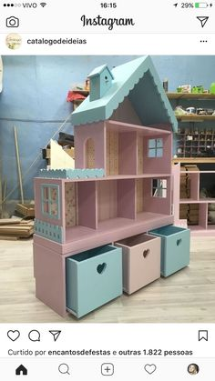 Cute idea for girls dollhouse with storage underneath! Cute idea for girls dollhouse with storage underneath! Girls Dollhouse, Diy Dollhouse, Barbie Furniture, Kids Furniture, Outdoor Furniture, Doll House Plans, Little Girl Rooms, Little Girl Crafts, Diy Wood Projects