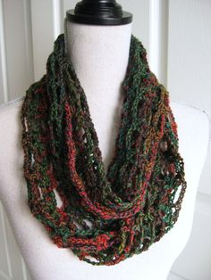 Cowl Scarf CrochetedLacyShades of Green and by RoseJasmine on Etsy
