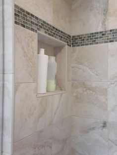 Shower enclosure w/glass accent - contemporary - bathroom tile - bridgeport - Cook & Kozlak Flooring Center, Inc. Bathroom Renos, Shower Enclosure, Bathroom Makeover, Shower Stall, Contemporary Bathroom Tiles, Modern Bathroom, Bathrooms Remodel, Bathroom Design, Bathroom Decor