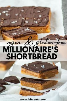This Millionaire's Shortbread recipe is a healthier, gluten-free, vegan, egg-free, refined sugar-free and dairy-free version of the traditional millionaire's shortbread. This recipe is easy, dangerously delicious and made with only 8 ingredients! #millionaires #shortbread #kitseats