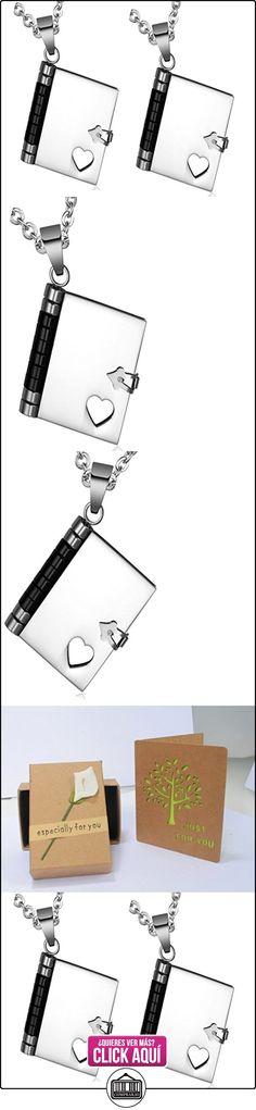 Daesar Conjuntos de Joyería Colgante Collar Acero Mujer, Cuadrado Amor Libro Corazón Patrón Colgante  ✿ Joyas para niños - Regalos ✿ ▬► Ver oferta: http://comprar.io/goto/B01CP6OEMQ