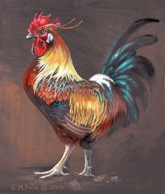 roosters and chickens painting books | Roosters  Chickens / Thinking of doing a rooster painting like this ...