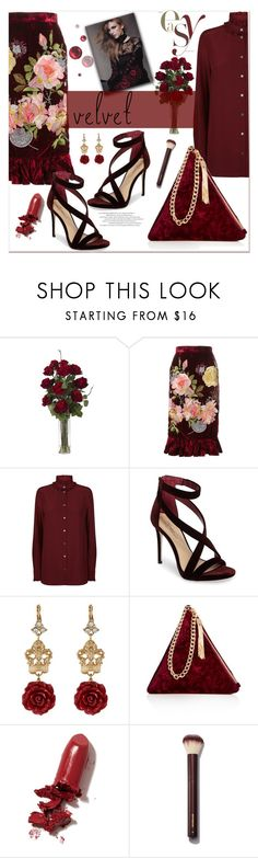 """""""Crush on Velvet"""" by loveroses123 ❤ liked on Polyvore featuring Nearly Natural, Alice Archer, Dolce&Gabbana, Imagine by Vince Camuto, Street Level, LAQA & Co. and velvet"""