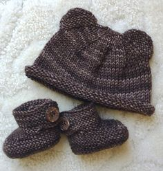 n between each decrease round. Tie off top when 8 stitches remain. Ears knit with 11 stitches per needle as with the small preemie hat.): 68 stitches, knit to Baby Booties Knitting Pattern, Baby Boy Knitting Patterns, Baby Hats Knitting, Loom Knitting, Knit Hats, Knit Patterns, Bamboo Knitting Needles, Baby Sweaters, Knitted Bags