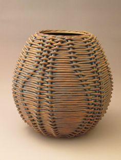 surface pattern adding on top of, drawing or pressing cloth for texture Large Woven Ceramic Vase- Jennifer FItzGerald