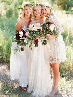 white mismatched boho dresses for bridesmaid