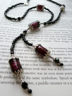 Vintage Inspired Murano Style Beaded Double Drop Lavalliere With Lampwork, Glass and Crystal Beads Black Purple
