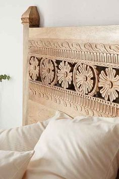 Love this Plum & Bow Pranati Carved Headboard - Urban Outfitters Dream Bedroom, Home Bedroom, Bedroom Decor, Bedroom Furniture, Apartment Furniture, Wood Furniture, Wood Headboard, Headboard Ideas, Bohemian Headboard