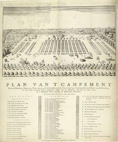 Anonymous | Kampement bij Den Haag, 1742, Anonymous, Adriaen Moetjens (II), 1742 | Gezicht in vogelvlucht op de grote legeroefening Kampement te Den Haag, een legerkamp opgeslagen op bevel van de Staten van Holland in het Haagse Bos bij Den Haag, 29 mei 1742. Op het blad onder de plaat de legenda's 1-9, 10-18, A-M, a-w en A-Q.