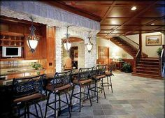 If your guy has a man cave, or dreams of having one, you can help him outfit it with a few essential items. We're creating a space in our basement that the guys can relax in, and entertain th… Man Cave Home Bar, Basement Remodeling, Basement Ideas, Basement Layout, Man Room, Bars For Home, My Dream Home, Bricks, Sweet Home