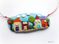 Love Street - colorful handmade polymer clay necklace with little houses and trees