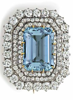 1895 Tiffany & Co. aquamarine & diamond brooch set with a rectangular-cut aquamarine, within an old mine-cut diamond three-row surround, mounted in platinum and gold, with detachable brooch attachment Signed Tiffany & Co. Antique Jewelry, Vintage Jewelry, Tiffany Art, Aquamarine Jewelry, Diamond Brooch, Vintage Rhinestone, Diamond Cuts, Jewelry Collection, Fine Jewelry