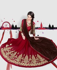 Brown Georgette Half and Half Saree With Blouse 70499