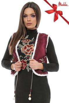 Vesta din cojoc scurta | Madelia Fashion - Magazin online haine și rochii de damă Bomber Jacket, Velvet, Jackets, Collection, Fashion, Down Jackets, Moda, Fashion Styles, Fashion Illustrations