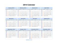 Yearly Calendar 2014