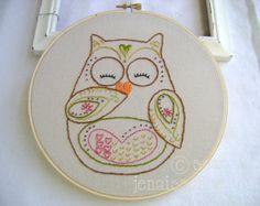 Embroidery Pattern PDF Owl Autumn and Fall Ohli by sewjenaissance