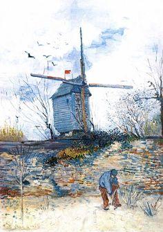 Le Moulin de la Galette. Tras su llegada a París en 1886 para vivir con su hermano Theo, Van Gogh experimentó una evolución artística. Alentado por Theo para emular a los impresionistas y conseguir así que su trabajo se pudiera vender mejor, Vincent Van Gogh dejó de producir escenas rurales holandesas y comenzó a pintar algunas obras más innovadoras, coloristas y expresivas. Pintó Moulin de la Galette en abril de 1887, y forma parte de su serie de pinturas de molinos del animado Montmartre.