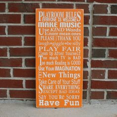 Playroom Rules Sign - Typography Word Art. $95.00, via Etsy.
