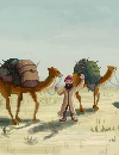 Pixel Art, Camel, Painting, Animals, Animales, Animaux, Painting Art, Camels, Paintings