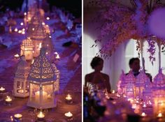 rented white lanterns with candles and floral accents on the tables