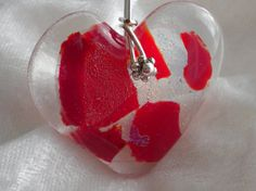 Heart in Red Gold Dichroic Fused Glass Pendant by uniquenique, $26.00 #onfireteam #lacwe #teamfest