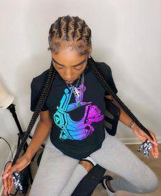 Box Braids Hairstyles For Black Women, Feed In Braids Hairstyles, Braids Hairstyles Pictures, Cute Braided Hairstyles, Black Girl Braids, Braids For Black Women, Baddie Hairstyles, Braids For Black Hair, Girls Braids