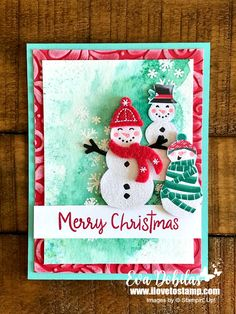 Snowman Season Card - I Love to Stamp Create Christmas Cards, Stamped Christmas Cards, Hand Stamped Cards, Stampin Up Christmas, Christmas Makes, Xmas Cards, Christmas Crafts, Christmas 2019, Christmas Ideas