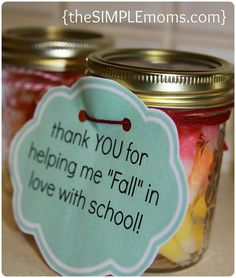 a simple craft :: halloween, fall, teacher gift or thank you gift { – the SIMPLE moms Fall Teacher Gifts, Thanksgiving Teacher Gifts, Halloween Teacher Gifts, Teacher Treats, Teacher Thank You, Fall Gifts, School Treats, School Gifts, Thank You Gifts