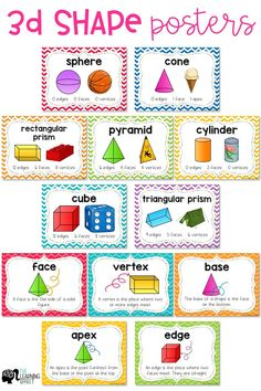 Shape Posters These shapes posters are the perfect addition to your classroom math word wall. 3d Shapes Activities, Teaching Shapes, Teaching Math, 3d Shapes Kindergarten, Geometry Activities, Math Charts, Math Anchor Charts, Shape Anchor Chart, Math Word Walls