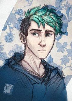 SharkRAIE! green hair   haircut   sidecut   flowers   blue flowers   art drawing   art   drawing   digital art