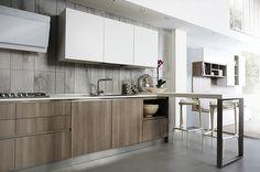 Cucina Jolie di Aurora Cucine. Nella composizione Finitura Stonehenge colore Olmo spessore 22 mm.  Disponibile in varie finiture per un ottimo rapporto qualità prezzo.  Kitchen - Cucina - Design - Legno