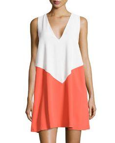 Designer: Alice & Olivia Maya (T9NRK ), Colour-block trapeze dress