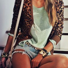 shorts, mint green sweater, cheetah print cardigan. so cute for summer