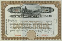 Wells Fargo and Company stock certificate, 1910