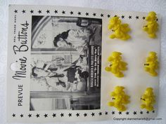 Prevue Movie Buttons - Advertised Movies on Card of Realistic Buttons - 1940s and 1950s