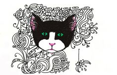 Cat Art  8x10 print  Pen Ink Doodles Lines by modpretties on Etsy.