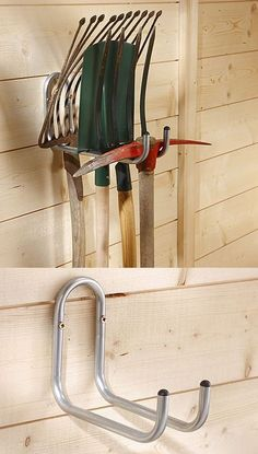 Buy the Double Tool Hanger from STORE Hooks today! A part of our Garage Hooks & Storage Racks range. Tool Shed Organizing, Storage Shed Organization, Garage Organisation, Garage Storage Solutions, Diy Garage Storage, Storage Ideas, Garden Tool Shed, Garden Tool Storage, Garage Hooks