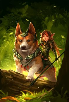 Some legends say that the Corgi dog was once the favored mounts for fairy-kind.  This is a Corgi and fairy by *sandara on deviantART