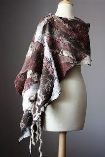 Large Nuno Felted shawl scarf Wool Silk lace Brown off white beige natural textured collage Abstract Contemporary Original Modern Art